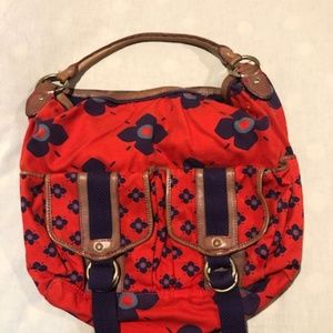 MARC JACOBS Flower Floral Canvas / Leather Bag Red